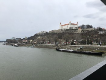 View from the UFO bridge to the Danube River and the Bratislava Castle