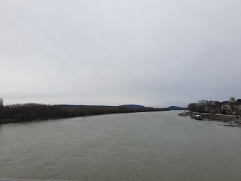 View from the UFO bridge to the Danube River